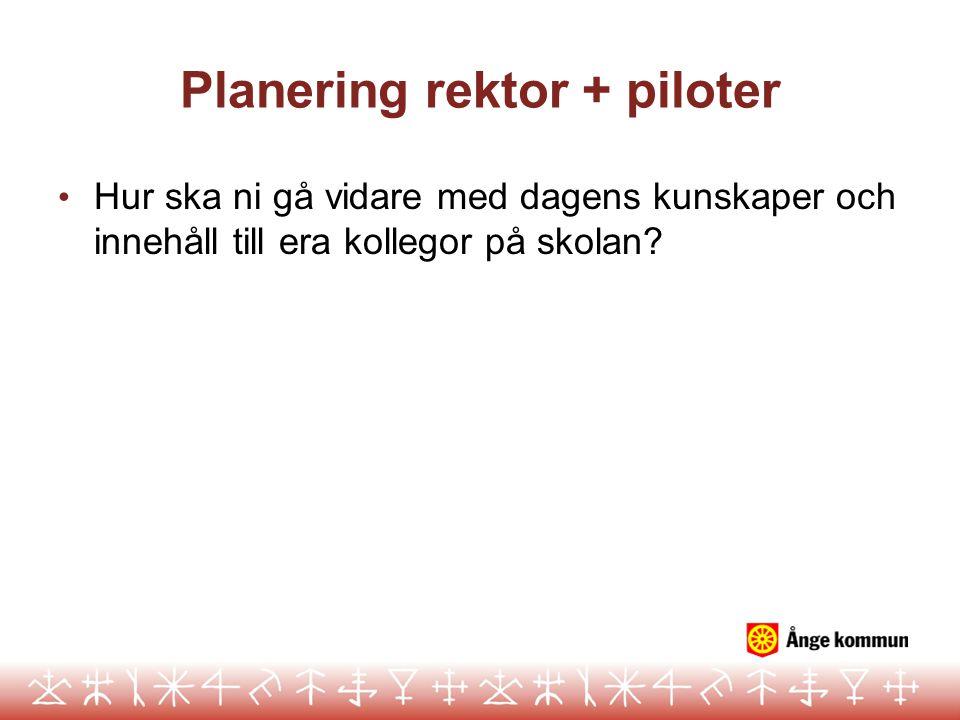Planering rektor + piloter Hur ska ni gå vidare med dagens kunskaper och innehåll till era kollegor på skolan?