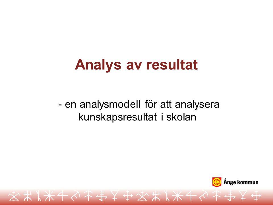 Analys av resultat - en analysmodell för att analysera kunskapsresultat i skolan