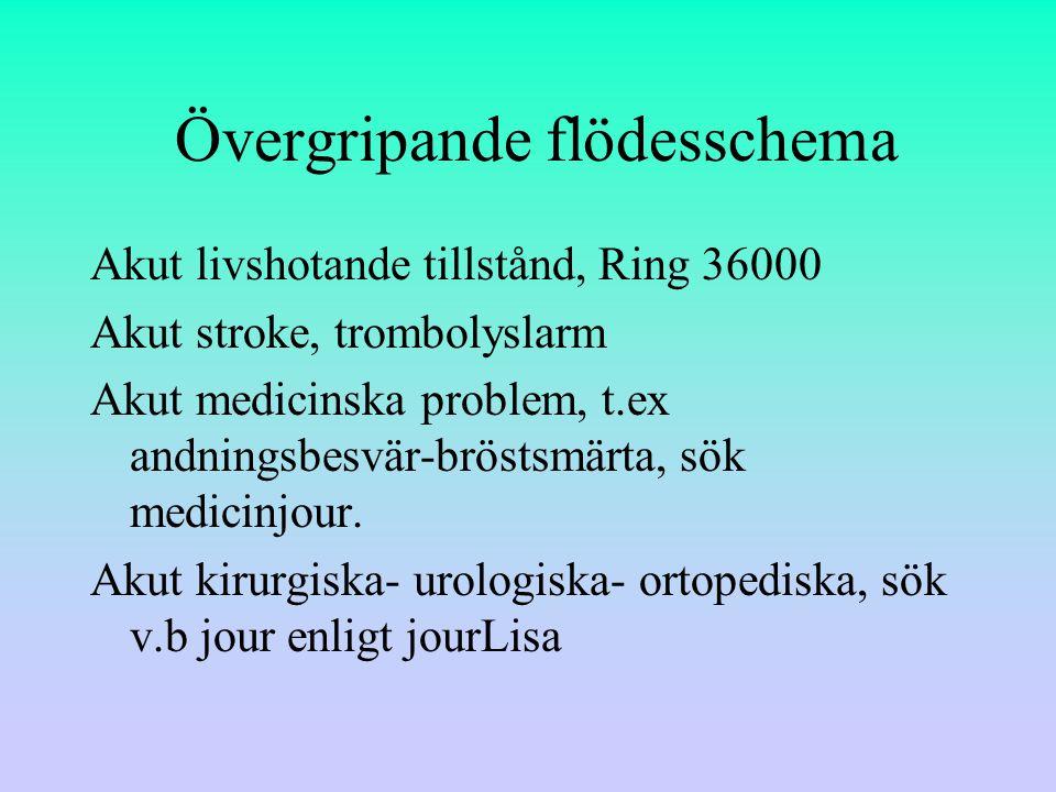 Övergripande flödesschema Akut livshotande tillstånd, Ring 36000 Akut stroke, trombolyslarm Akut medicinska problem, t.ex andningsbesvär-bröstsmärta, sök medicinjour.