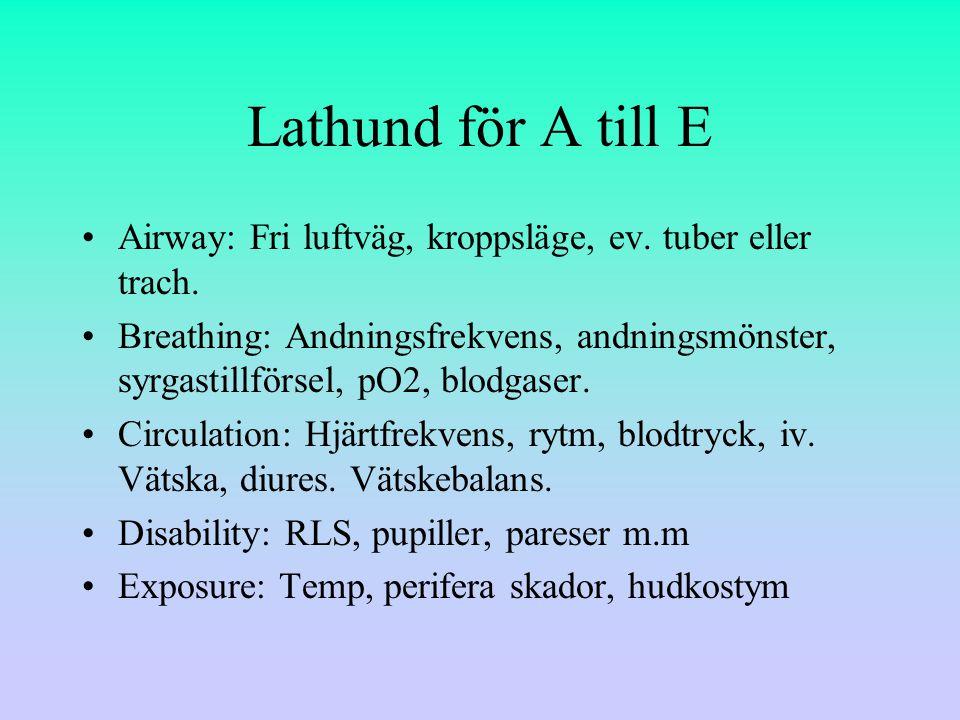 Lathund för A till E Airway: Fri luftväg, kroppsläge, ev.