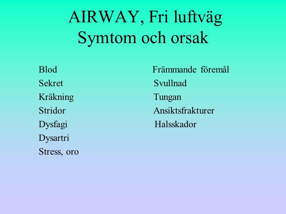 AIRWAY, Fri luftväg Symtom och orsak Blod Främmande föremål Sekret Svullnad Kräkning Tungan Stridor Ansiktsfrakturer Dysfagi Halsskador Dysartri Stress, oro