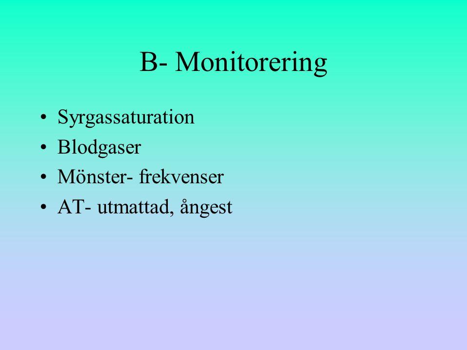 B- Monitorering Syrgassaturation Blodgaser Mönster- frekvenser AT- utmattad, ångest