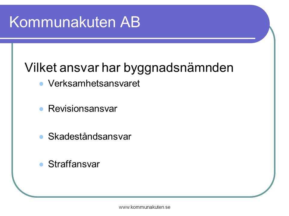www.kommunakuten.se Kommunakuten AB Vilket ansvar har byggnadsnämnden Verksamhetsansvaret Revisionsansvar Skadeståndsansvar Straffansvar