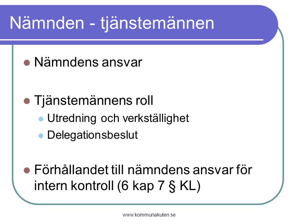www.kommunakuten.se Nämnden - tjänstemännen Nämndens ansvar Tjänstemännens roll Utredning och verkställighet Delegationsbeslut Förhållandet till nämnd
