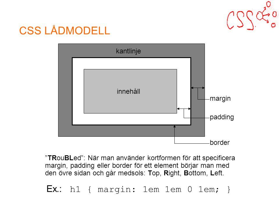 CSS LÅDMODELL innehåll margin padding border kantlinje TRouBLed : När man använder kortformen för att specificera margin, padding eller border för ett element börjar man med den övre sidan och går medsols: Top, Right, Bottom, Left.