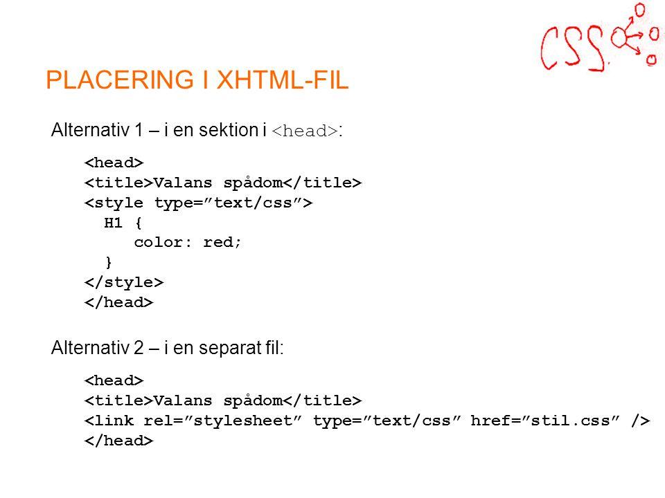 PLACERING I XHTML-FIL Alternativ 1 – i en sektion i : Valans spådom H1 { color: red; } Alternativ 2 – i en separat fil: Valans spådom