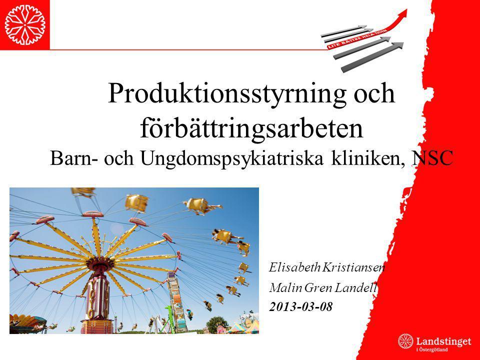Produktionsstyrning och förbättringsarbeten Barn- och Ungdomspsykiatriska kliniken, NSC Elisabeth Kristiansen Malin Gren Landell 2013-03-08
