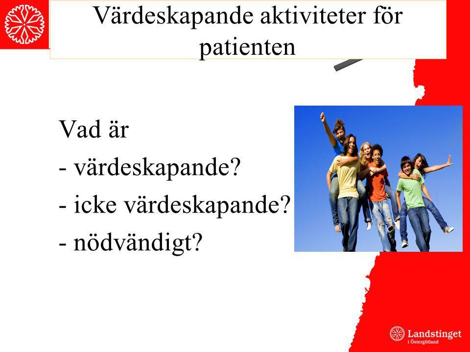 Värdeskapande aktiviteter för patienten Vad är - värdeskapande? - icke värdeskapande? - nödvändigt?
