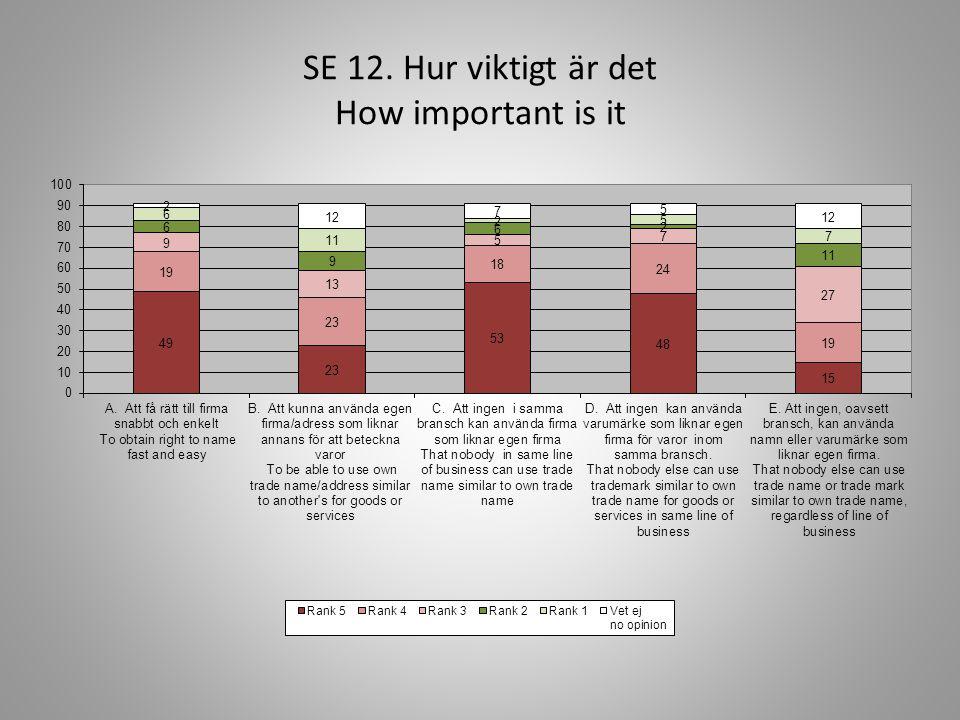 SE 12. Hur viktigt är det How important is it