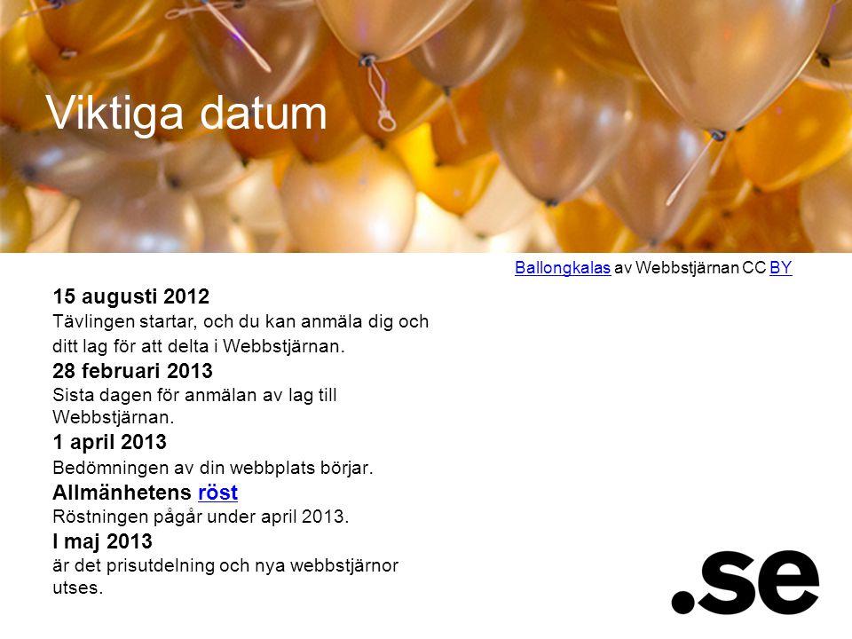 15 augusti 2012 Tävlingen startar, och du kan anmäla dig och ditt lag för att delta i Webbstjärnan. 28 februari 2013 Sista dagen för anmälan av lag ti