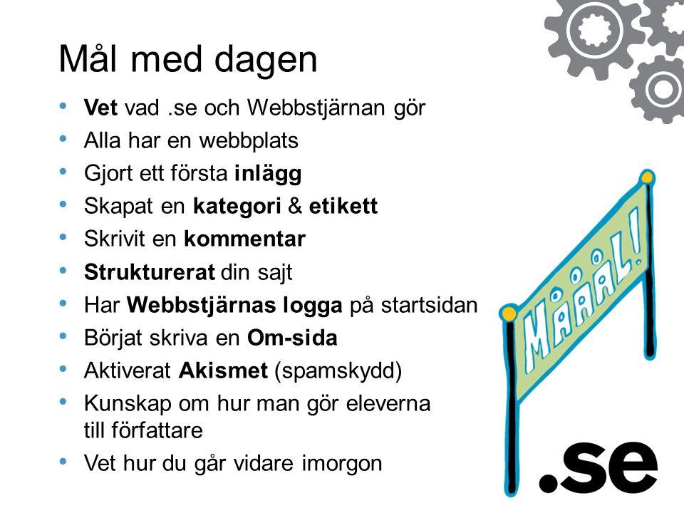 Mål med dagen Vet vad.se och Webbstjärnan gör Alla har en webbplats Gjort ett första inlägg Skapat en kategori & etikett Skrivit en kommentar Struktur