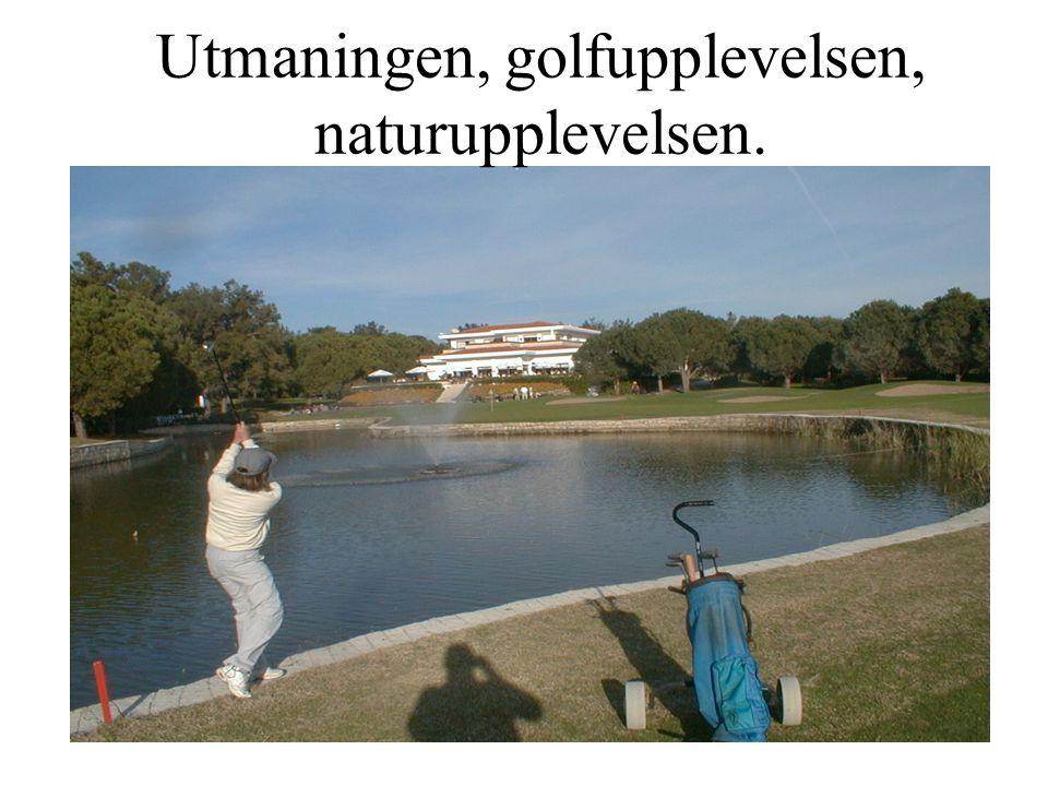 Utmaningen, golfupplevelsen, naturupplevelsen.