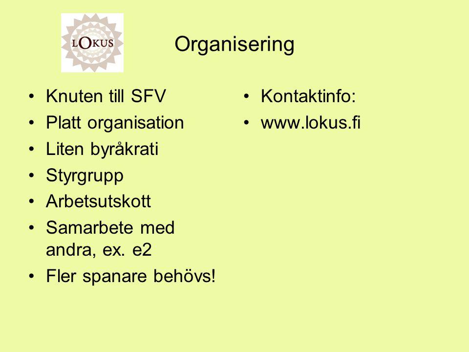 Organisering Knuten till SFV Platt organisation Liten byråkrati Styrgrupp Arbetsutskott Samarbete med andra, ex.