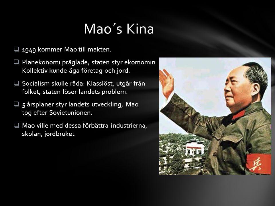  1949 kommer Mao till makten.