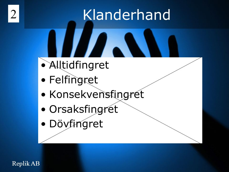 Replik AB Alltidfingret Felfingret Konsekvensfingret Orsaksfingret Dövfingret Klanderhand 2