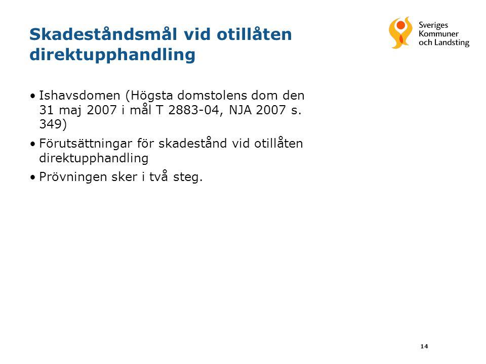14 Skadeståndsmål vid otillåten direktupphandling Ishavsdomen (Högsta domstolens dom den 31 maj 2007 i mål T 2883-04, NJA 2007 s.