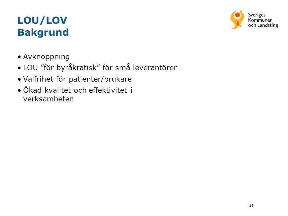 18 LOU/LOV Bakgrund Avknoppning LOU för byråkratisk för små leverantörer Valfrihet för patienter/brukare Ökad kvalitet och effektivitet i verksamheten