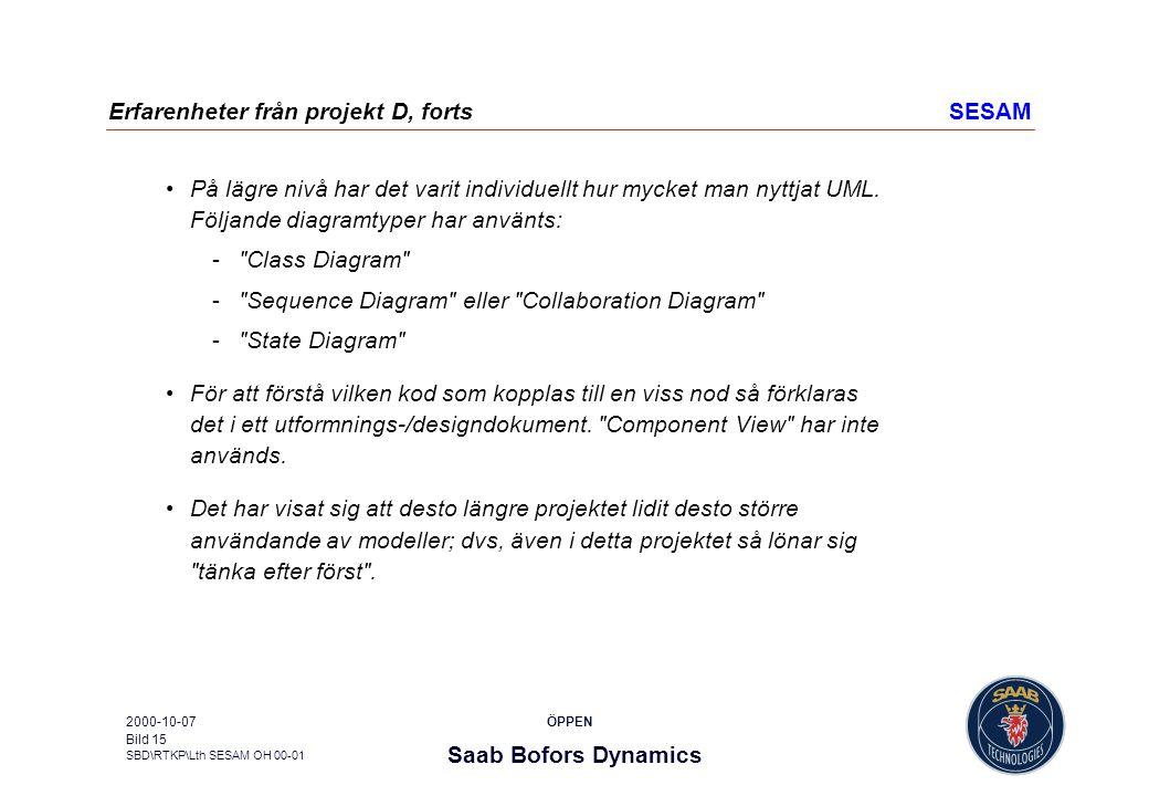 Saab Bofors Dynamics SBD\RTKP\Lth SESAM OH 00-01 ÖPPEN2000-10-07 Bild 15 Erfarenheter från projekt D, fortsSESAM På lägre nivå har det varit individue