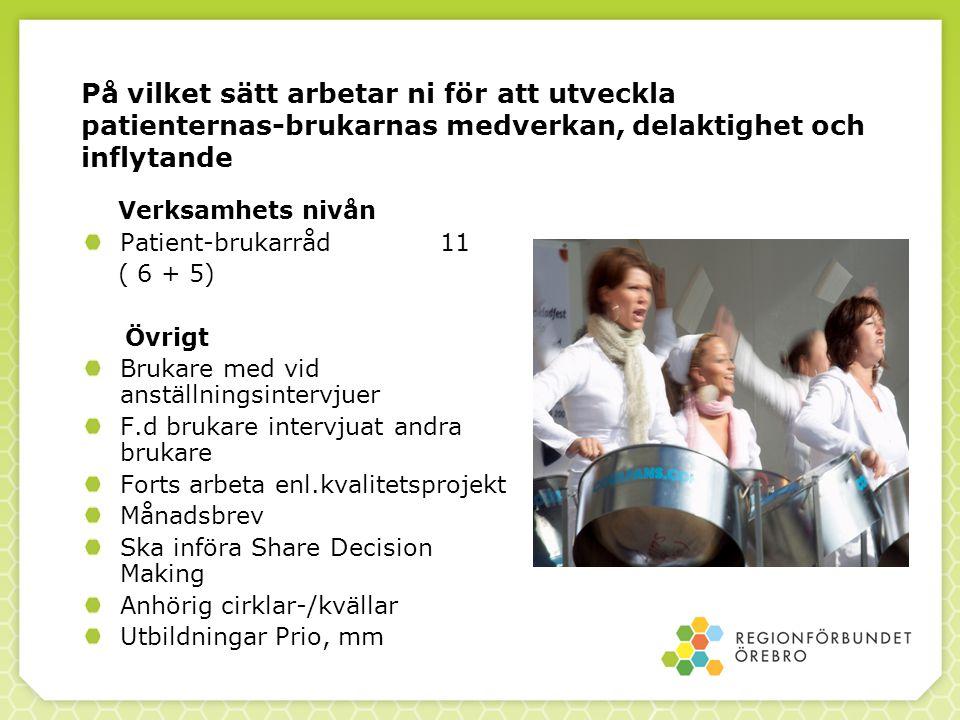 På vilket sätt arbetar ni för att utveckla patienternas-brukarnas medverkan, delaktighet och inflytande Verksamhets nivån Patient-brukarråd 11 ( 6 + 5