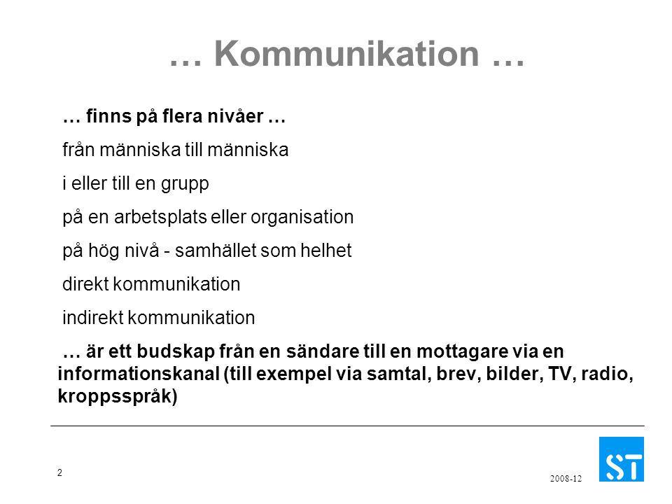 2 2008-12 … Kommunikation … … finns på flera nivåer … från människa till människa i eller till en grupp på en arbetsplats eller organisation på hög ni
