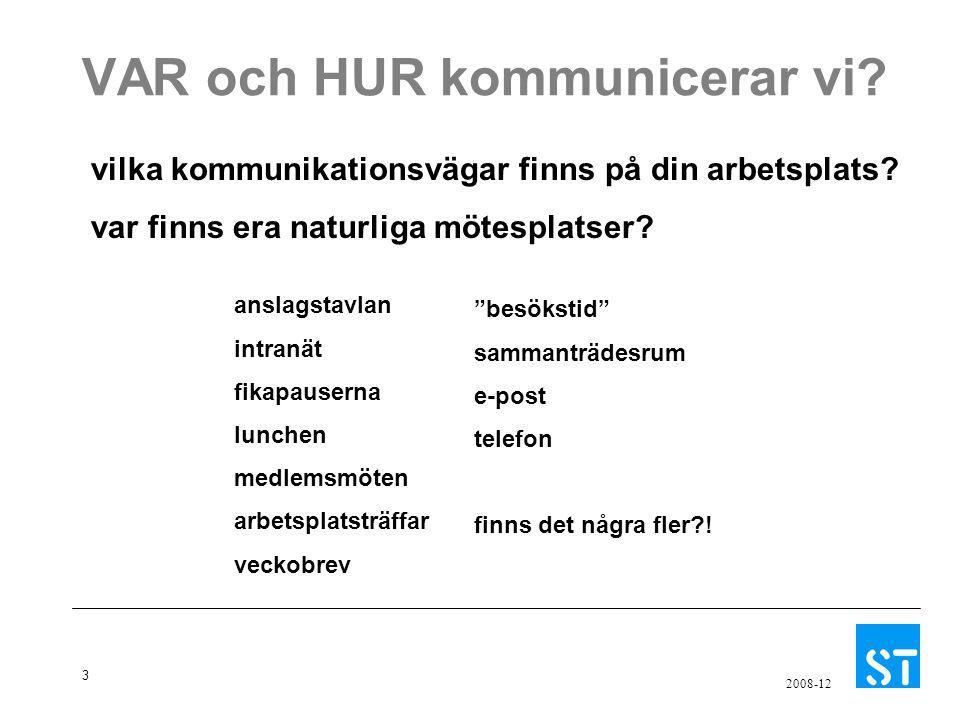 3 2008-12 VAR och HUR kommunicerar vi? vilka kommunikationsvägar finns på din arbetsplats? var finns era naturliga mötesplatser? anslagstavlan intranä