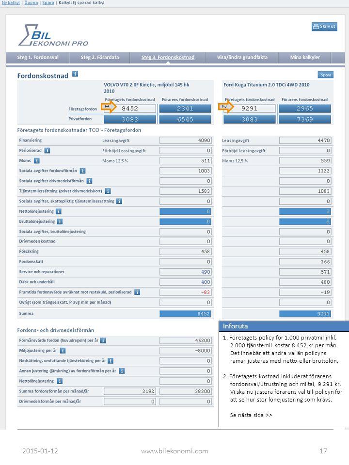 Inforuta 1. Företagets policy för 1.000 privatmil inkl. 2.000 tjänstemil kostar 8.452 kr per mån. Det innebär att andra val än policyns ramar justeras