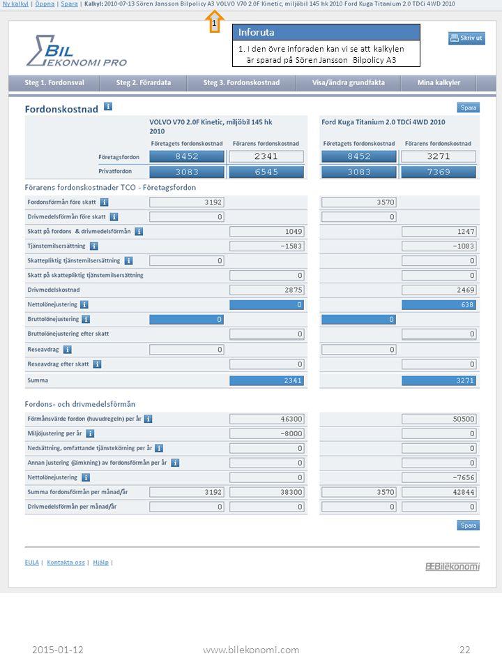 2015-01-12www.bilekonomi.com22 Inforuta 1. I den övre inforaden kan vi se att kalkylen är sparad på Sören Jansson Bilpolicy A3 1