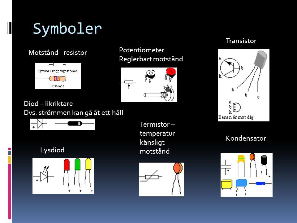 Symboler Motstånd - resistor Potentiometer Reglerbart motstånd Diod – likriktare Dvs. strömmen kan gå åt ett håll Lysdiod Kondensator Termistor – temp