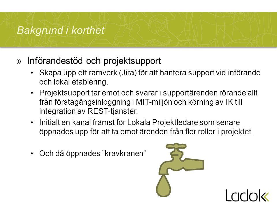Bakgrund i korthet »Införandestöd och projektsupport Skapa upp ett ramverk (Jira) för att hantera support vid införande och lokal etablering.