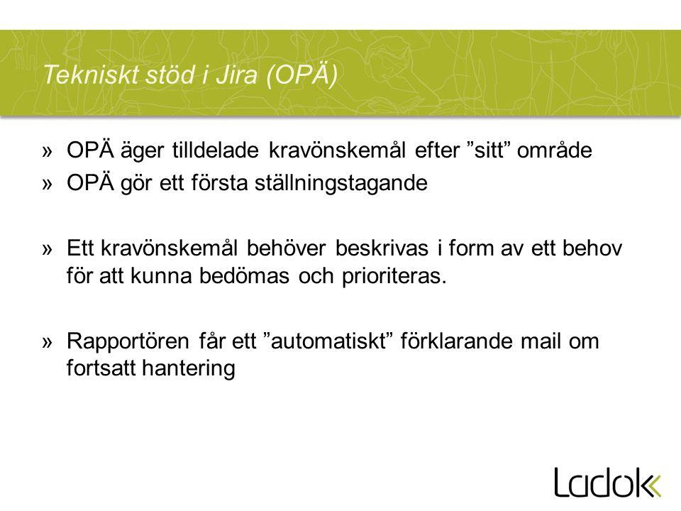 """Tekniskt stöd i Jira (OPÄ) »OPÄ äger tilldelade kravönskemål efter """"sitt"""" område »OPÄ gör ett första ställningstagande »Ett kravönskemål behöver beskr"""
