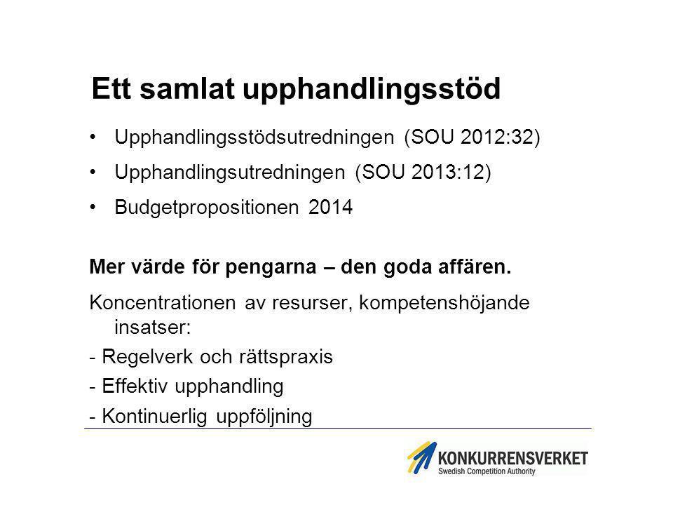 Ett samlat upphandlingsstöd Upphandlingsstödsutredningen (SOU 2012:32) Upphandlingsutredningen (SOU 2013:12) Budgetpropositionen 2014 Mer värde för pe
