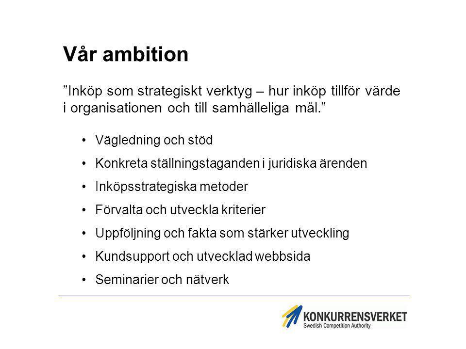 """Vår ambition """"Inköp som strategiskt verktyg – hur inköp tillför värde i organisationen och till samhälleliga mål."""" Vägledning och stöd Konkreta ställn"""