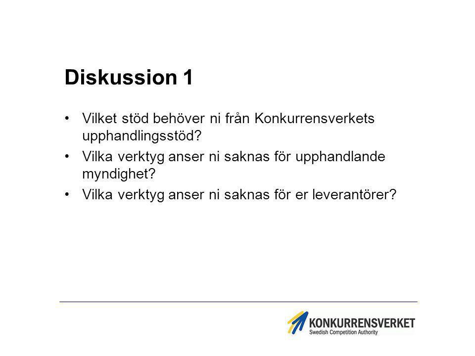 Diskussion 1 Vilket stöd behöver ni från Konkurrensverkets upphandlingsstöd? Vilka verktyg anser ni saknas för upphandlande myndighet? Vilka verktyg a