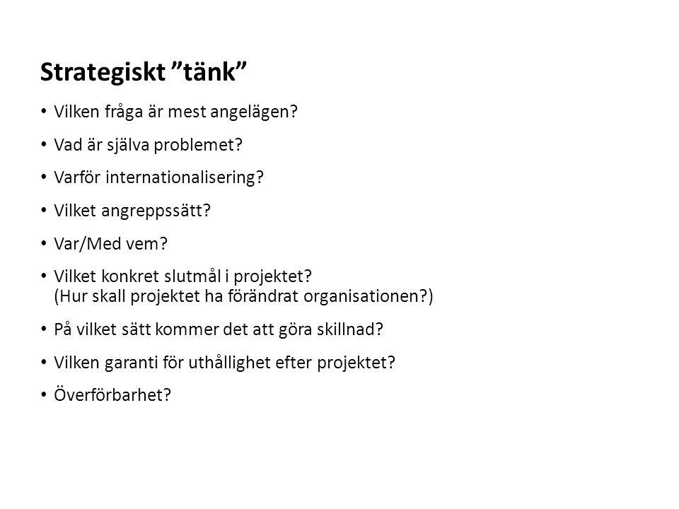 Sv Vilken fråga är mest angelägen? Vad är själva problemet? Varför internationalisering? Vilket angreppssätt? Var/Med vem? Vilket konkret slutmål i pr
