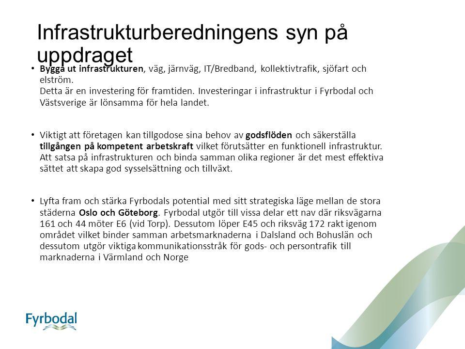 Infrastrukturberedningens syn på uppdraget Bygga ut infrastrukturen, väg, järnväg, IT/Bredband, kollektivtrafik, sjöfart och elström.