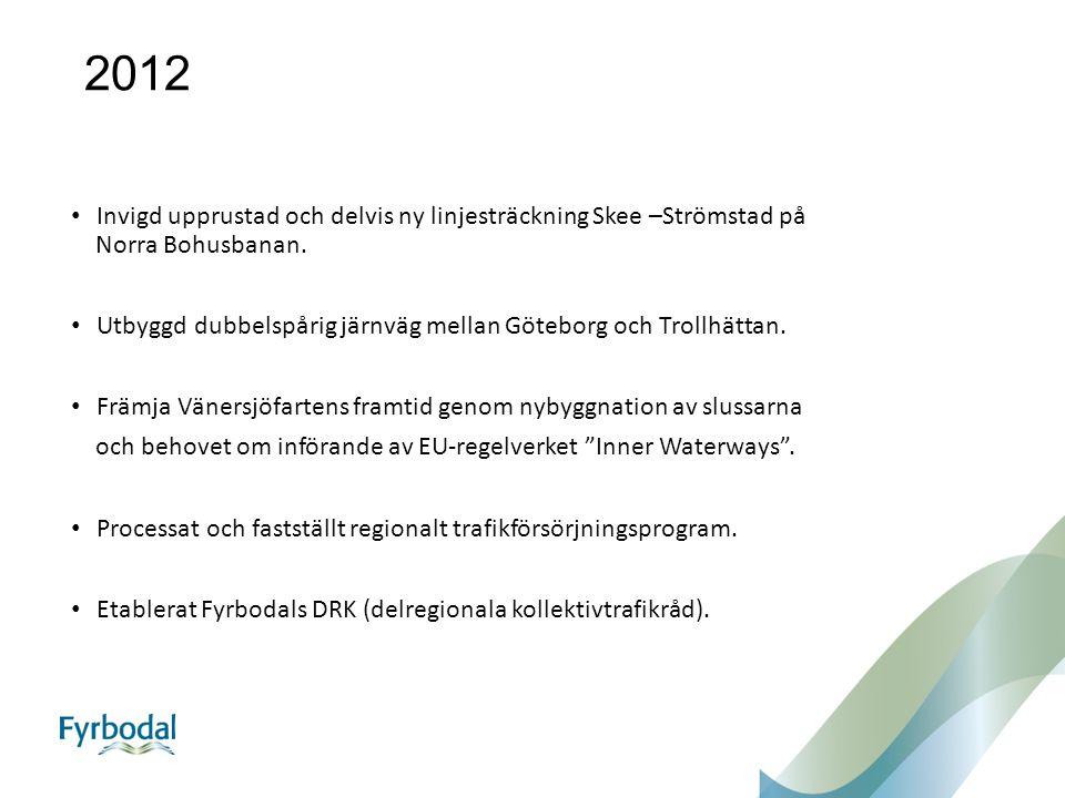 2013 Kraftfullt agerat gällande Trafikverkets förslag på en nedläggning av DVVJ och Lysekilsbanan.