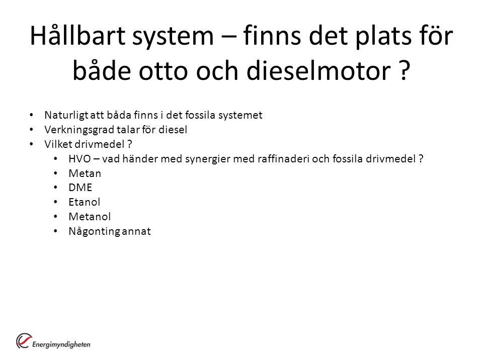 Hållbart system – finns det plats för både otto och dieselmotor ? Naturligt att båda finns i det fossila systemet Verkningsgrad talar för diesel Vilke