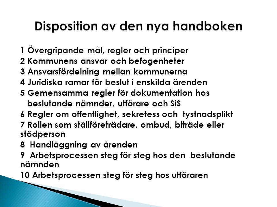 1 Övergripande mål, regler och principer 2 Kommunens ansvar och befogenheter 3 Ansvarsfördelning mellan kommunerna 4 Juridiska ramar för beslut i ensk