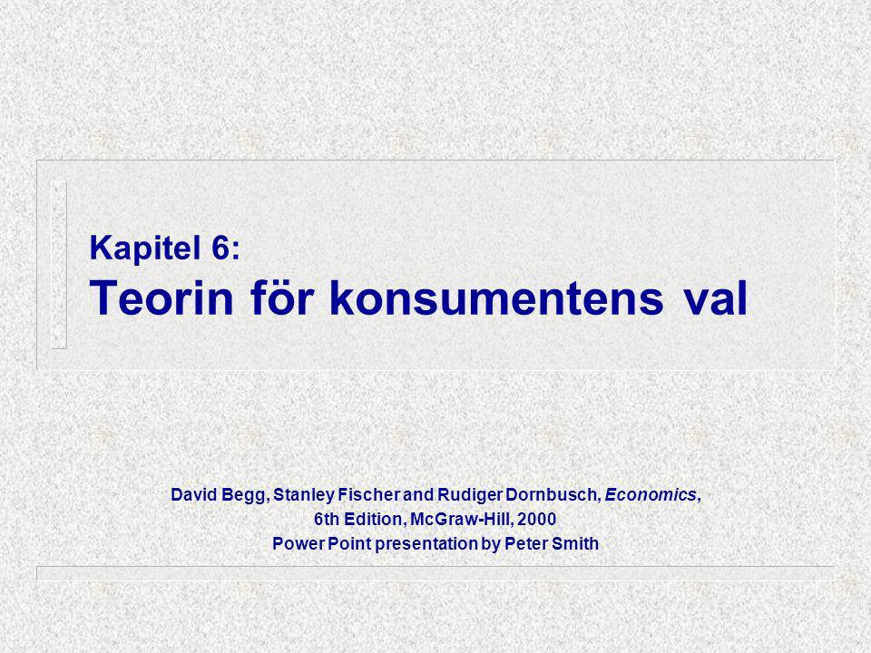 6.1 Fyra viktiga element i konsumentbeslut n Konsumentens inkomst n Varornas priser (marknadens byteskvot) n Konsumenternas preferenser (konsumentens byteskvot) n Antagandet att konsumenterna maximerar sin nytta