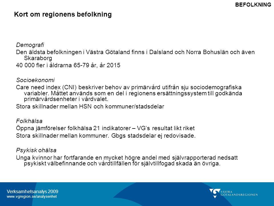 Verksamhetsanalys 2009 www.vgregion.se/analysenhet Kort om regionens befolkning Demografi Befolkningens behov av hälso- och sjukvård bestäms i hög grad av befolkningens ålder; behovet/kostnaderna ökar brant från 65 års ålder.