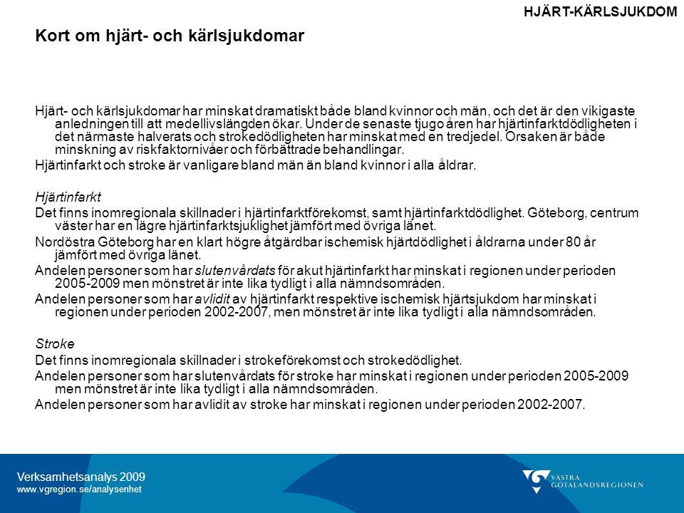 Verksamhetsanalys 2009 www.vgregion.se/analysenhet Kort om hjärt- och kärlsjukdomar HJÄRT-KÄRLSJUKDOM Hjärt- och kärlsjukdomar har minskat dramatiskt både bland kvinnor och män, och det är den vikigaste anledningen till att medellivslängden ökar.