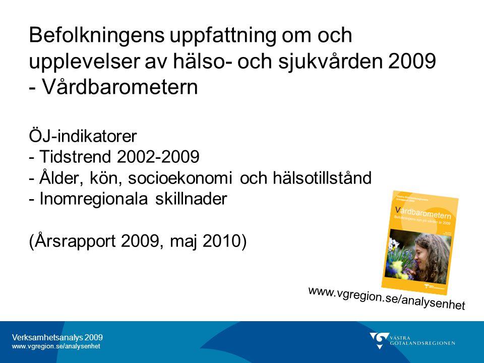 Verksamhetsanalys 2009 www.vgregion.se/analysenhet Innehåll vårdbarometern - Tidstrend 2002-2009 - Ålder, kön, socioekonomi och hälsotillstånd - Inomregionala skillnader Verksamhetsanalys 2009 -Tillgång till vård -Förtroende för vård, VC resp sjh -Telefonframkomlighet 1177 -Fick förväntad hjälp -Rimlig väntetid besök VC -Telefonframkomlighet VC Vårdbarometerns årsrapport 2009 -Tillgång till vård -Förtroende för vård, VC resp sjh -Telefonframkomlighet 1177 -Har ringt 1177 -Var vill man söka information -Behov av vård men ej sökt -Resa till annat sjukhus vid vårdkö VÅRDBAROMETERN