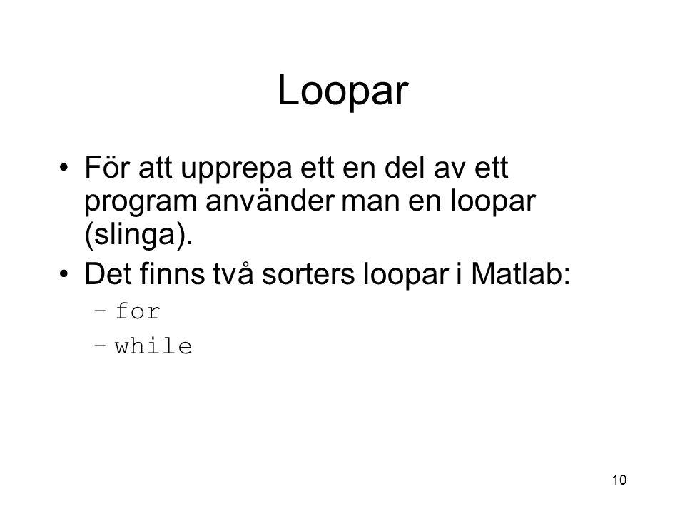 10 Loopar För att upprepa ett en del av ett program använder man en loopar (slinga). Det finns två sorters loopar i Matlab: –for –while