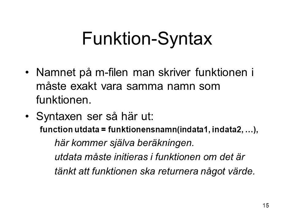15 Funktion-Syntax Namnet på m-filen man skriver funktionen i måste exakt vara samma namn som funktionen. Syntaxen ser så här ut: function utdata = fu