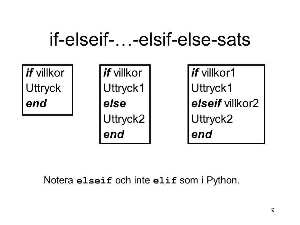 9 if-elseif-…-elsif-else-sats if villkor Uttryck end if villkor Uttryck1 else Uttryck2 end if villkor1 Uttryck1 elseif villkor2 Uttryck2 end Notera el