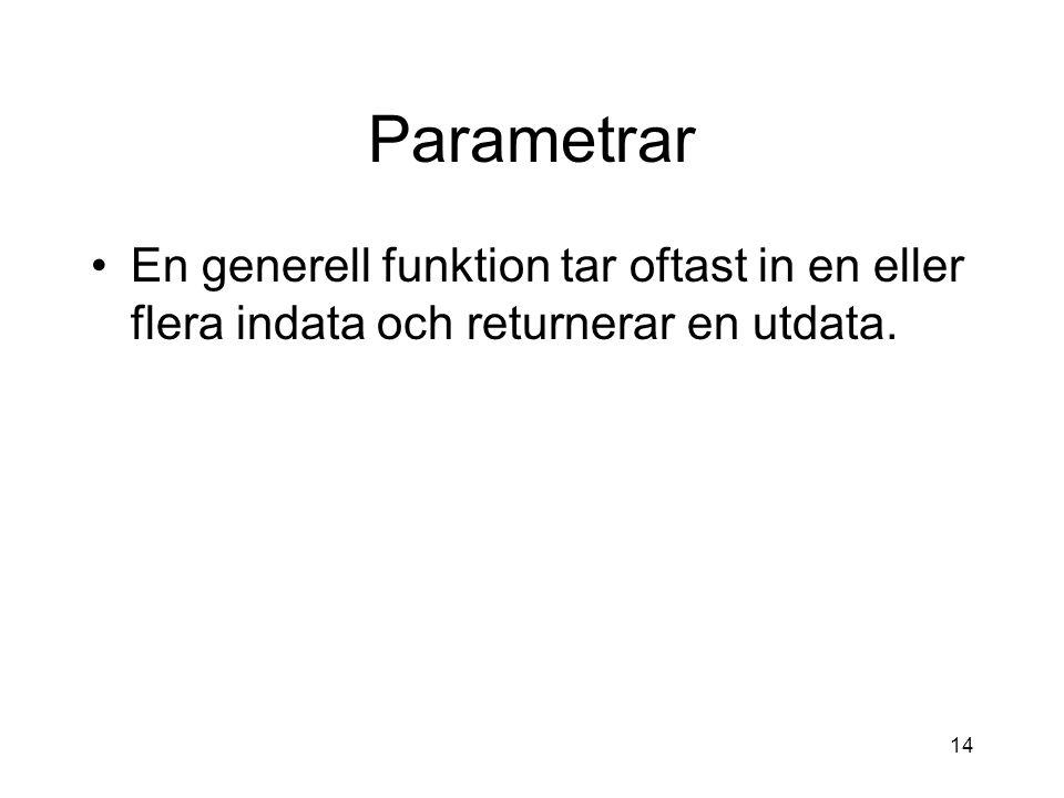 14 Parametrar En generell funktion tar oftast in en eller flera indata och returnerar en utdata.