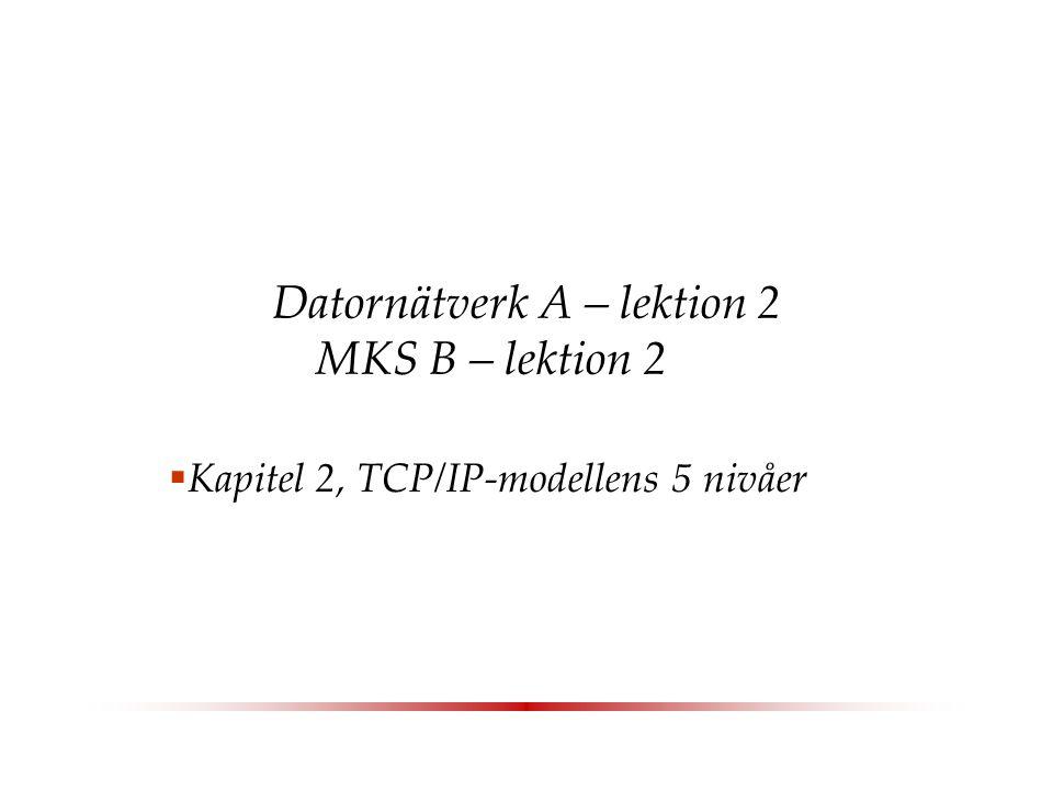 Datornätverk A – lektion 2 MKS B – lektion 2  Kapitel 2, TCP/IP-modellens 5 nivåer