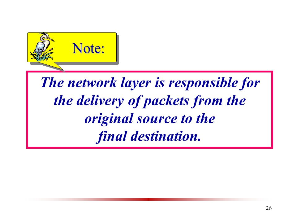 26 The network layer is responsible for the delivery of packets from the original source to the final destination.