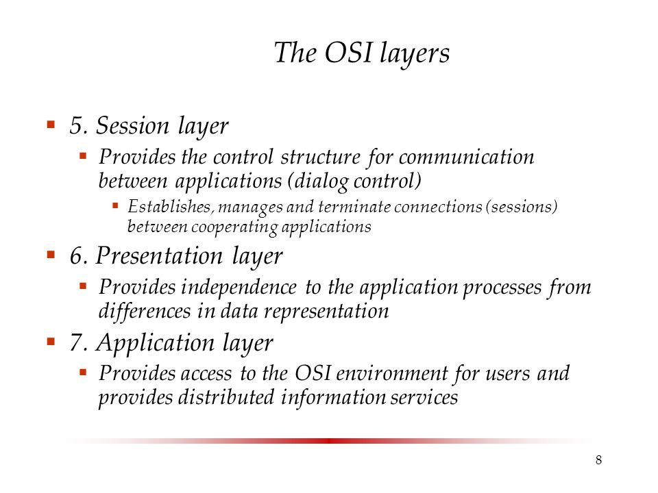 8 The OSI layers  5.