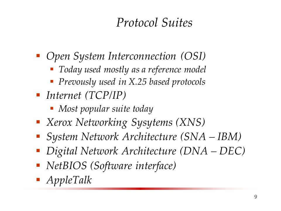 10 The TCP/IP five layer model